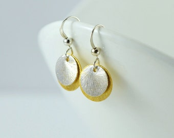 Two Tone Brushed Gold Vermeil and Sterling Silver Disc Earrings