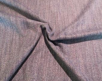 REMNANT--Classic Blue Gray Herringbone Wool Blend Fabric--2/3 Yard
