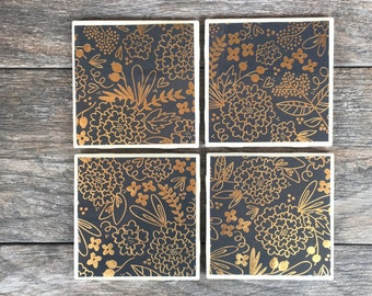Gray and Gold Metallic Floral Pattern Coasters