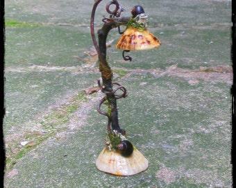 Faery Floor Lamp, fairy, faery dollhouses, faery gardens, fantasy, magic, Waldorf, natural materials, miniature lamp