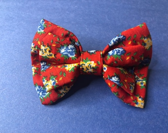 Hair Bow Barrette Red Blue Yellow Calico Floral Print