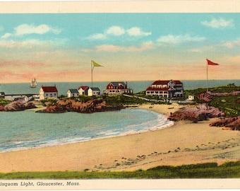 Linen Postcard, Gloucester, Massachusetts, Annisquam Lighthouse, ca 1935