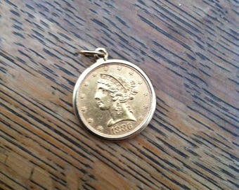 1886 Gold Coin 14K solid Five Dollar piece