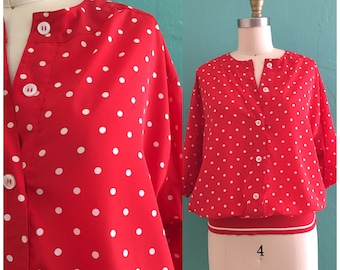 vintage 80's red polka dot blouse // polka dot button down top