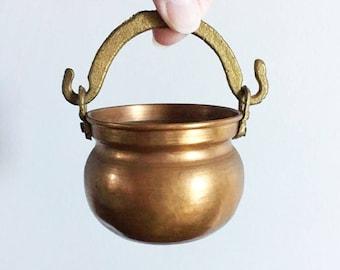 Old Copper Cauldron / Witch Kettle / Succulent Planter / Mini Copper Planter / Air Fern Planter / Copper and Brass Pot / Vintage Cauldron
