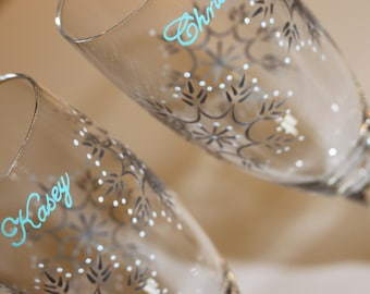 Personalized Snowflake Wedding Toasting Flutes, Champagne Glasses, Bride Groom, Mr. Mrs., Custom, Dated, Pastel Aqua Blue Teal Silver White