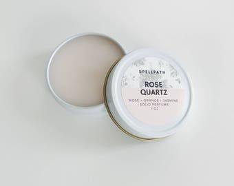 Rose Quartz Solid Perfume Balm - 1 oz - Rose Orange Sandalwood - Natural Fragrance