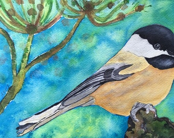 Chickadee In Watercolor, Original Art, Bird Lovers Gift, Chickadee Painting, Yellow Bird Art, Birds In Art, Handmade Original Watercolors