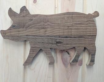 Rustic Wood Pig Wall hanging Sign, Pig, Wood Pig