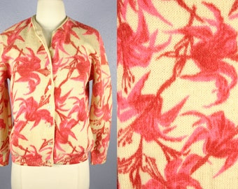 Vintage 1950s Cardigan 60s Sweater FLORAL Sweater MOD Sweater ROCKABILLY Sweater Granny Sweater Spring Sweater Red Pink Sidney Gould