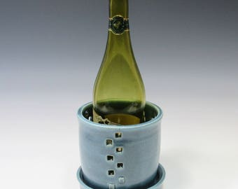 Ceramic Wine Chiller - Bottle Cooler - Blue Wine Chiller - Tabletop Wine Holder - Ice Bucket - Flower Vase - Countertop Utensil Holder