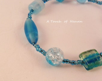 Aqua and teal beaded bracelet