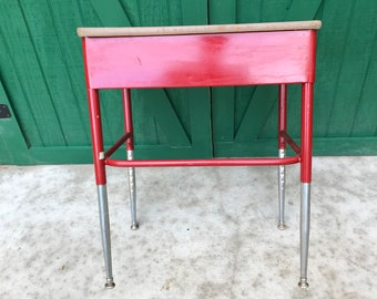 Vintage School Desk Red, MCM, Formica Top.