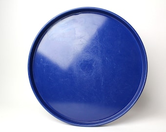 Vintage Circular Blue Tin Serving Tray - Large Heavy Duty Enamel Metal Platter Rounded Minimalist