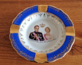 ashtray - porcelain of Limoges - France - Prince Rainier Princess Grace of Monaco - Monte Carlo