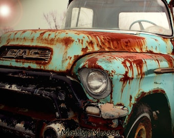 Old Truck Photograph, Rusty GMC Photo, Rustic Americana Home Decor, Turquoise Blue Man Cave Garage Decor, Truck Art Print