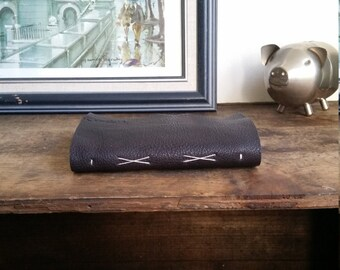 "Slim Leather Journal - Dark Brown Journal 4.5"" x 6"" by The Orange Windmill 1700"