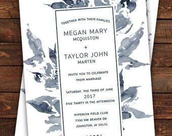 Digital Floral Wedding Invite, Weddings, Blue and White Floral Wedding Invite