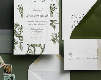 Flower Print Classic Wedding Invitation Suite