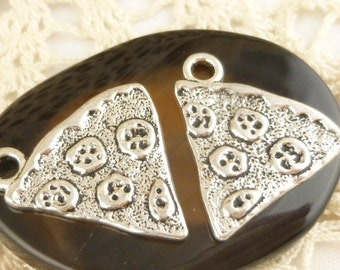 Pizza Pepperoni Cheese Slice Antiqued Silver Charms - S145