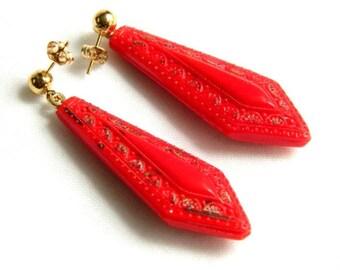 "Antique Etched Red and Gold Art Glass Earrings - Poured Molded Glass - Czechoslovakian Czech - Art Deco Nouveau - 2"" Dangle Pierced"