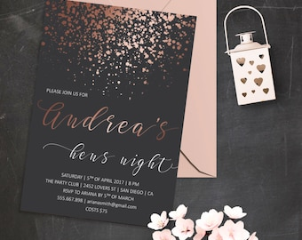 Rose Gold Bridal Shower Invitation Printable Bridal Shower Invite Hens Night Invitation Bachelorette Party Invitation Glitter Invitations