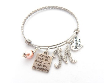 Future Daughter in Law BRACELET, Daughter in Law Gift, BRIDE to be Gift, Charm Bracelet, Marriage made you family, love made you my daughter