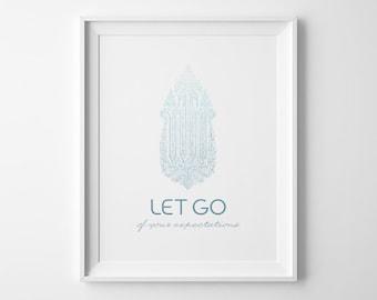 Affiche de yoga, laisser aller Ombre bleu, imprimé inspiration Yoga Studio Decor, Yoga art, affiche minimaliste