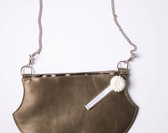 Bronze shoulder and genuine leather shoulder bag, small bag made in France