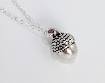 Silver Acorn Necklace/Tiny Silver Acorn Necklace/Solid Acorn Necklace/Tiny Acorn Necklace/Solid Acorn Necklace