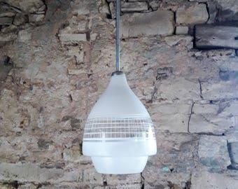 Vintage Mid Century Pendant Lamp / Space Age Ceiling Lamp / Atomic Light / White Glass / Yugoslavia 60s