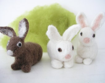 Little bunnies and rabbits, felted