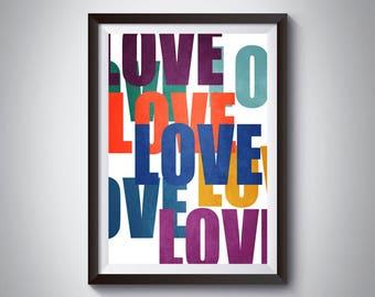 Word Art, Love Print, Printable Art, Typographic Artwork, Typographic Art, Nursery Decor, Love Poster, Pride Art, Word Artwork, Dorm Decor