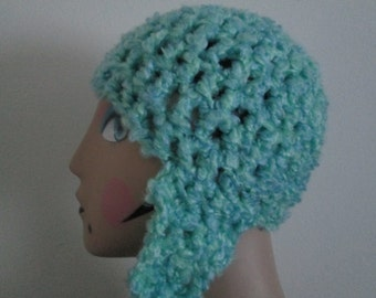 6 Months - Teen Blue Earflap Hat Crocheted by SuzannesStitches, Teen Earflap Hat, Toddler Blue Green Earflap Hat, Children's Earflap Hat