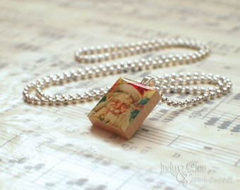 Santa Claus Scrabble Necklace, St. Nicholas, Jolly Old St. Nick, Handmade Scrabble Tile Art Pendant, Wood Pendant, Tiny Stocking Stuffer