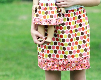 Size 10 SAMPLE SALE - Matching Girl and Doll Clothes Fits American Girl Doll - Indian Summer Twirl Skirts in Cream Dot