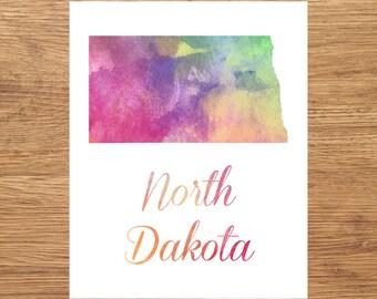 North Dakota Watercolor Fine Art Print, Watercolor Art, North Dakota Map Print, Watercolor Typography Art, State Wall Decor, USA