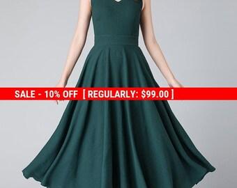 maxi linen dress, sleeveless dress, V neck dress, summer dress, party long dress, dress for women, pleated dress, swing dress 1905