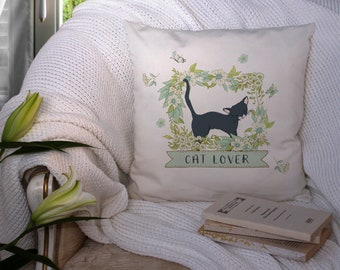 Large Cat Lovers Cushion Cover  with Black Cat and Flowers. Choice of Velvet or Canvas,  Pillowcase, Cat Owner Gift Floral