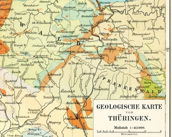Thuringia geological map print  19th century geology map coal deposits map German geology : Antique 1890s lithograph original old book plate