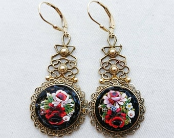 Awesome Filigree Micro Mosaic Rose Earrings, Italian Grand Tour Souvenir Jewelry, Antique