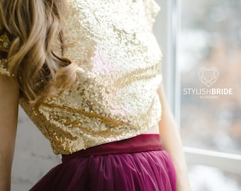 Gold Sequin top in 10 colors , Prom gold party crop top, New Year's sequined top, Bridesmaids gold blouse plus size