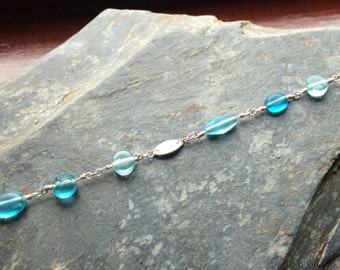 Frosted Blue Glass Bead Bracelet