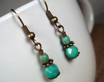 Antique Bronze Teal Picasso Czech Glass Statement Dangle Earrings
