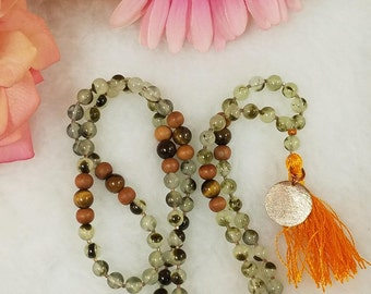 Green Prehnite, Tiger's Eye and Wood mala