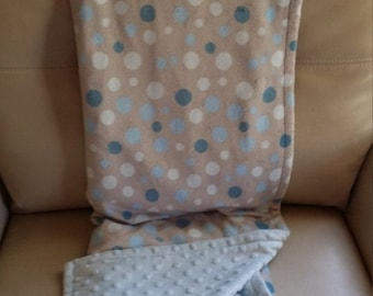 ON SALE Reversible Minky Blanket, Blue & Grey Polka Dot, Crib/Toddler Bed, Tummy Time - Size 42 X 60 in.