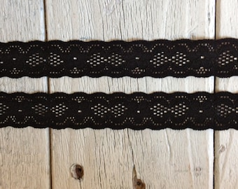 BLACK Stretch Lace-3/4 inch -5 or 10 yards