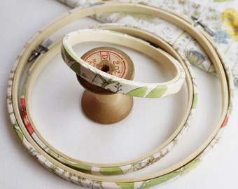 Delicate Spring Green, Embroidery Hoops. Embroidery Hoops Covered with cotton  Fabric.  Pretty Cross Stitch  Hoop Frames. Easter Craft.