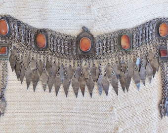 Afghanistan Headpiece, Breastplate, Necklace, Silver and Carnelian, Ethnic Vintage Jewellery