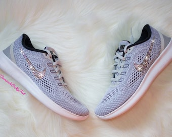 Swarovski Women's Nike New Free RN Run 2017 Gray & White Sneakers Blinged  Out With Authentic